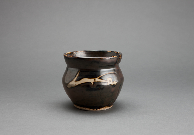 , 'Jar, iron brown glaze with angled sides and mouth rim and decorated with sgraffito and abstract brushwork,' , Pucker Gallery