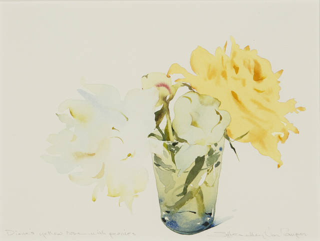 Susan Headley Van Campen, 'Diane's Yellow Rose with Peonies', 2020, Drawing, Collage or other Work on Paper, Watercolor on paper, Dowling Walsh