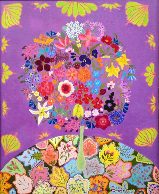 , 'Flowers with Patchwork,' 2015, Rebecca Hossack Art Gallery