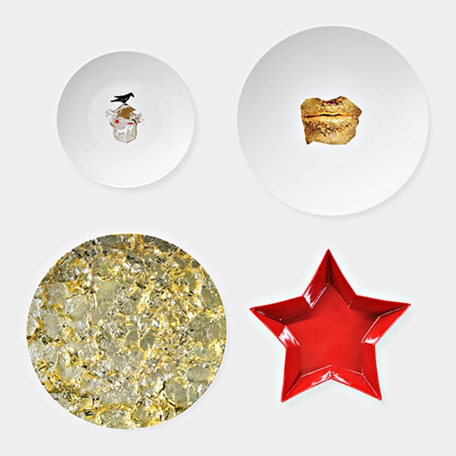 , 'Limited Edition Set of Four Mismatched Porcelain Dinner Plates. New in Box,' 2014, Alpha 137 Gallery