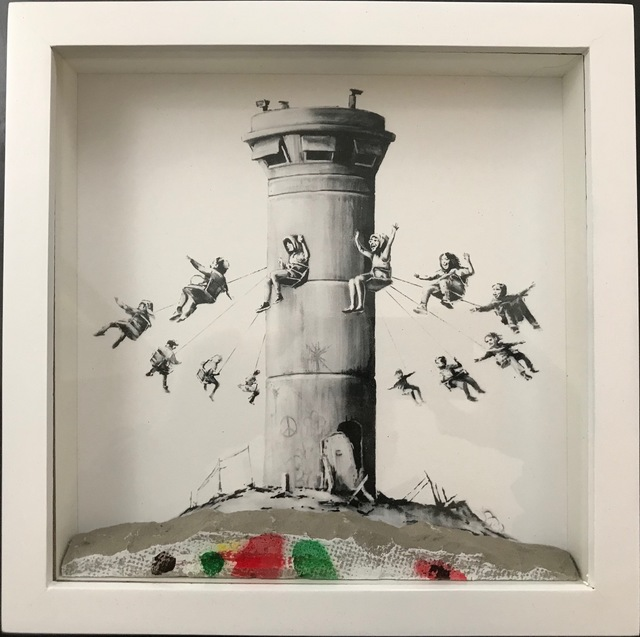 Banksy, 'Walled Off Hotel Box Set ', 2018, Ephemera or Merchandise, Box Framed With Different Colored Rocks At The Bottom Of the Frame Making Each One Unique., New Union Gallery