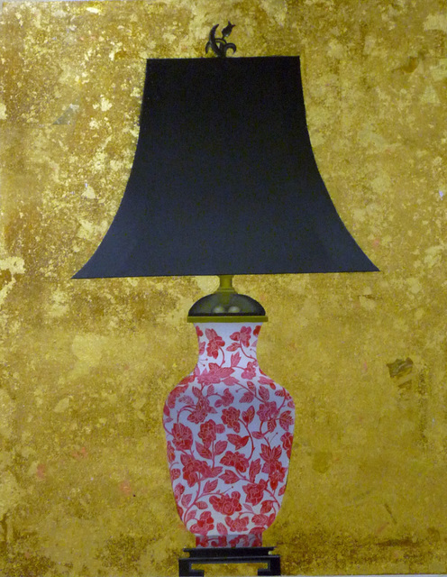 Patrick Kirwin, 'Lamp I (Coral and White Floral Base)', Painting, Acrylic and Gold Leaf on Panel, Zenith Gallery