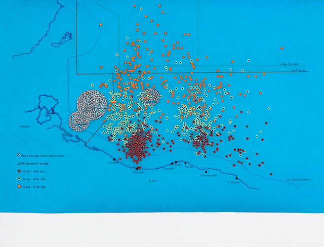 , 'IOM Missing Migrants Project, EUROSTAT, FRONTEX, RAUL Analytics, ECHO: SAR zones, rescue operations by date, numbers of dead and missing in the Mediterranean,' 2017, Tyler Rollins Fine Art