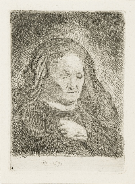 Rembrandt van Rijn, 'The Artist's Mother with Her Hand on her chest', 1631, Print, Etching, Forum Auctions