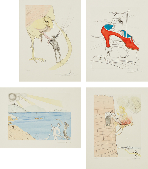 Salvador Dalí, 'After 50 Years of Surrealism', 1974, Print, The complete set of 12 etchings with hand-coloring, on Velin d'Arches paper, with full margins, each contained in a folder with text by André Parinaud, Phillips