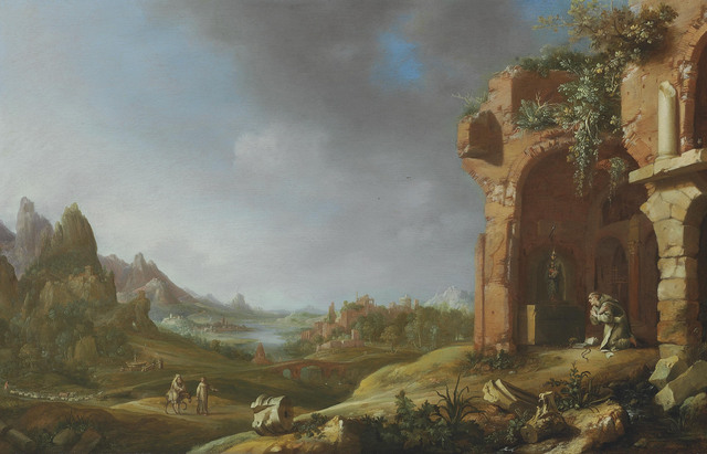 Bartholomeus Breenbergh, 'A landscape with the Flight into Egypt and a hermit monk praying in classical ruins', 1635, Christie's Old Masters