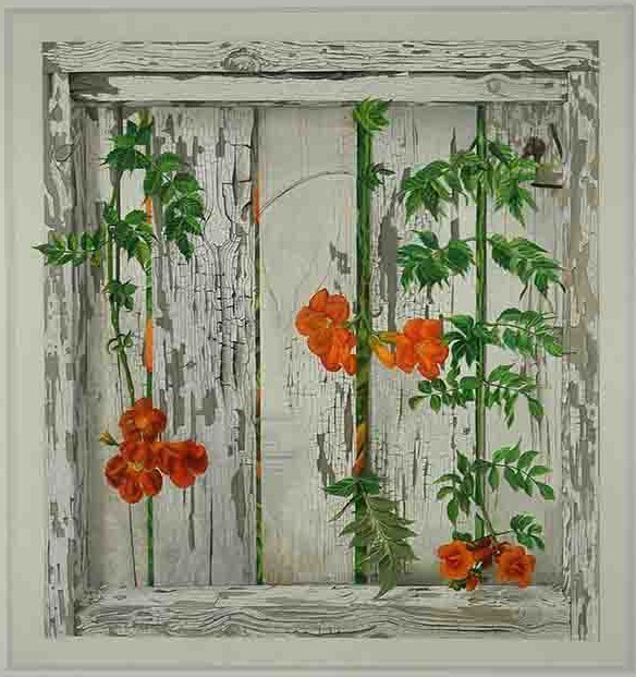 Patrick Kirwin, 'Trumpet Vines on White Fence ', 2010, Painting, Trompe l'oeil - Acrylic on Mylar, Zenith Gallery