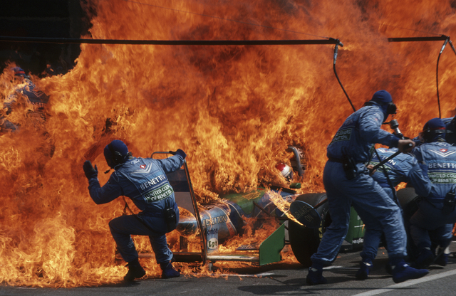 , 'Narrow Escape – Fire Incident in Hockenheim, German F1 Grand Prix July 31,' 1994, Brooklyn Museum