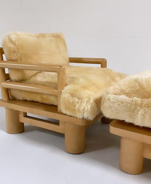 Karl Springer, 'Rare Dowelwood Lounge Chair and Ottoman with Sheepskin Cushions', 1970s, Design/Decorative Art, Cerused Oak, Sheepskin, Forsyth