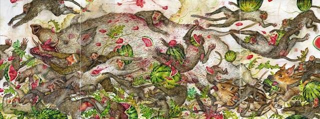 Mu Pan, 'White boar and watermelons', 2015, Coleccion SOLO