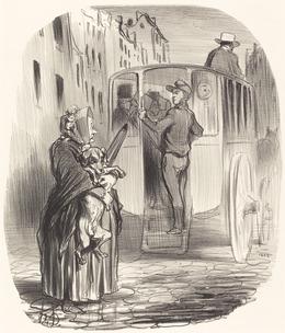 Honoré Daumier, 'Désolé, citoyenne... je ne reçois pas de chiens...', 1848, National Gallery of Art, Washington, D.C.