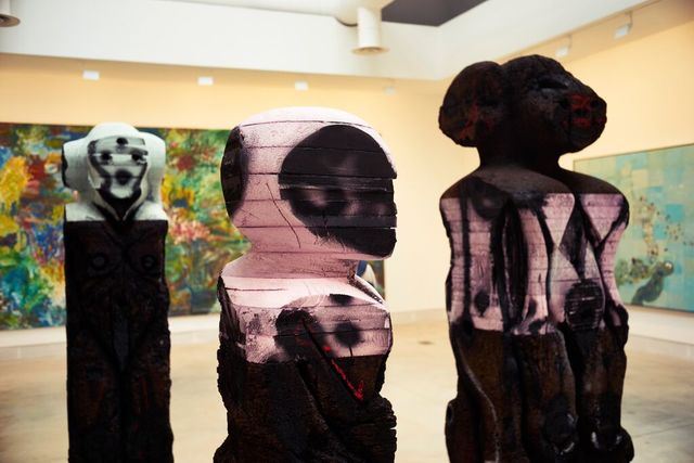 "Huma Bhabha, '""With Blows,"" ""With Words,"" and ""Mechanic"" (Installation View)', 2015, 56th Venice Biennale"