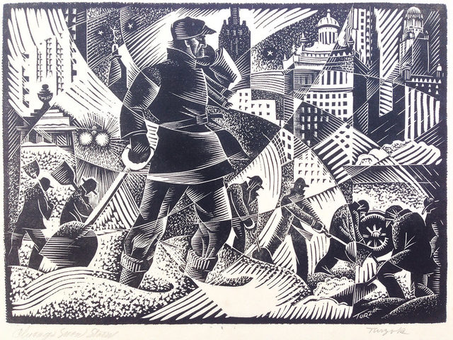 Charles Turzak, 'Chicago Snow Storm (Work Relief)', ca. 1935, Print, Woodcut on laid japanese paper., Catherine E. Burns Fine Prints