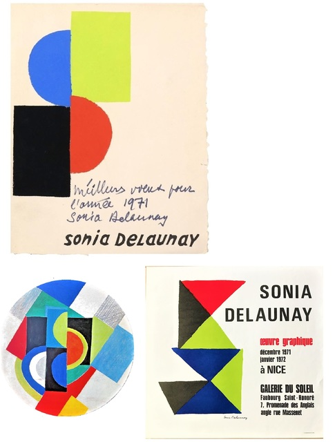 Sonia Delaunay, '3- Pieces Folded Folio, Lithograph, Signed with Inscription (Best wishes for the year 1971 Sonia Delaunay) , Exhibition Poster & Invitation', 1971, VINCE fine arts/ephemera