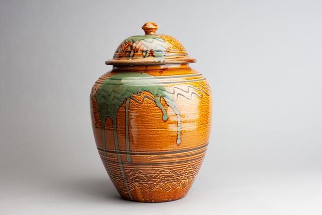, 'Jar with Amber Glaze and Yubigaki (Finger Drawn) Design,' n/a, Pucker Gallery