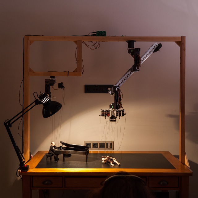 Janet Cardiff & George Bures Miller, 'Sad Waltz and the Dancer who couldn't dance', 2015, Installation, Mixed media installation including wooden desk, marionettes, robotics, audio, and lighting, Luhring Augustine