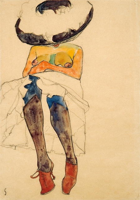 , 'Seated Semi-Nude with Hat and Purple Stockings (Gerti),' 1910, W & K - Wienerroither & Kohlbacher