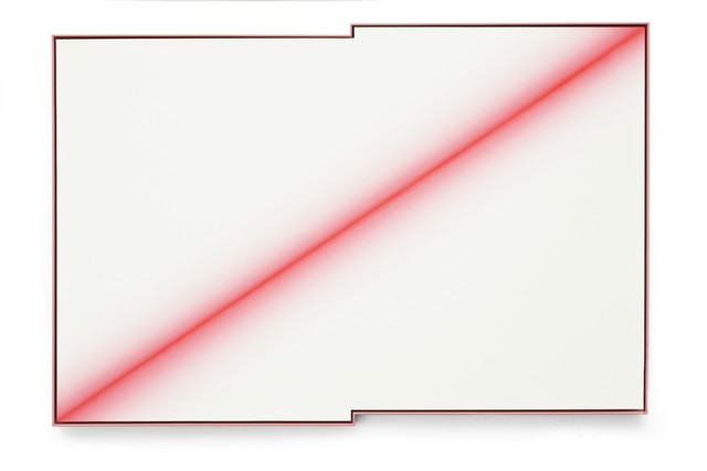 , 'The Fuzzy Fluorescent Red  Diagonal,' 2015, Aye Gallery