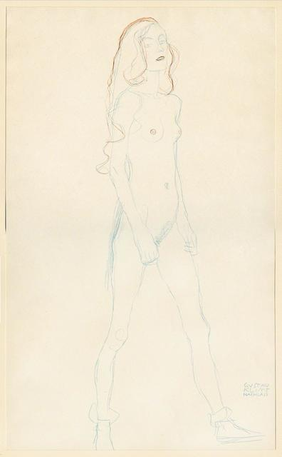 , 'Akt eines jungen Madchens (Rot und Blaustift). Nude of a young girl (red and blue pencil).,' 1919, Tanya Baxter Contemporary