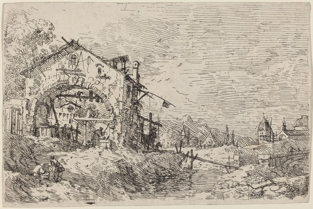 Canaletto, 'Landscape with a Woman at a Well', ca. 1735/1746, Print, Etching, National Gallery of Art, Washington, D.C.