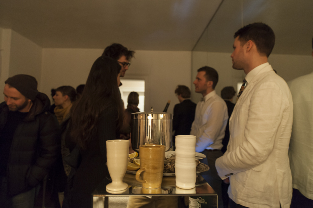Installation view of three cups from Bar des Individualistes, 2015 by Karin Lehmann
