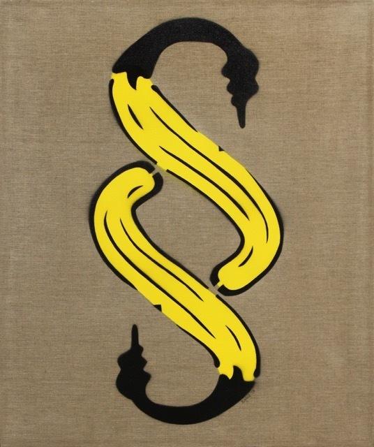 Bananensprayer Thomas Baumgärtel, 'Paragraphenbanane', 1998, Galerie Kronsbein