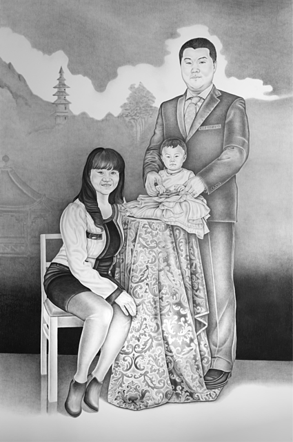 , 'Dì èr jiā yuán, Second Homeland - Portrait of Wang Jie, Gao Lei and Gao Xinhui Kristiina,' 2017, Galleria Heino