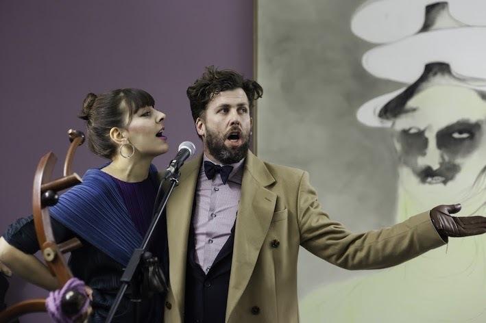 Performance by Anja Diettmann und Than Hussein Clark in the context of Than Hussein Clark. The Violet Crab DRAF David Roberts Art Foundation, London 2015 Photo: Dan Weill