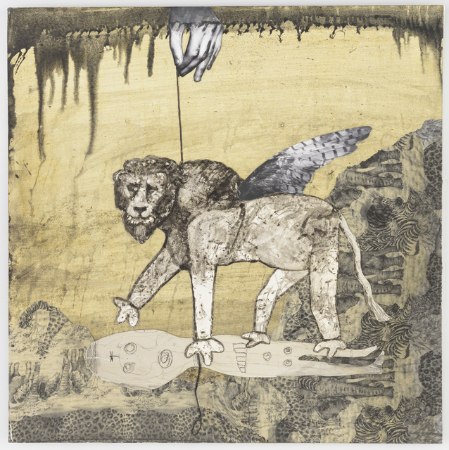 Hans Lemmen, 'Lion on a leash', 2016, Drawing, Collage or other Work on Paper, Mixed on paperboard, Galería Artizar
