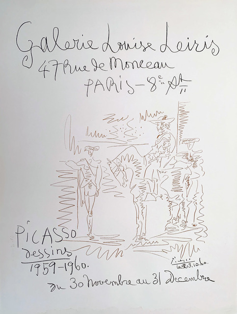 Pablo Picasso, 'Galerie Louise Leires Leires, Picasso Dessins 1959-1960, HOLIDAY SALE $300 OFF THRU MAKE OFFER', 1960, David Lawrence Gallery