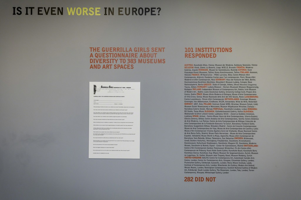 Whitechapel Gallery Guerrilla Girls Commission: Is it even worse in Europe? (2016) Photo: Steven White