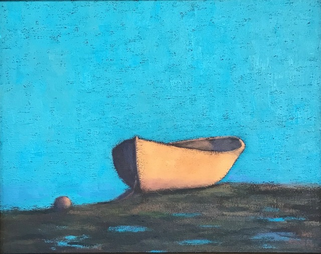 """, '""""Morning Glow"""" White Rowboat with Turquoise Sky and Reflections in Puddles,' 2010-2017, Eisenhauer Gallery"""