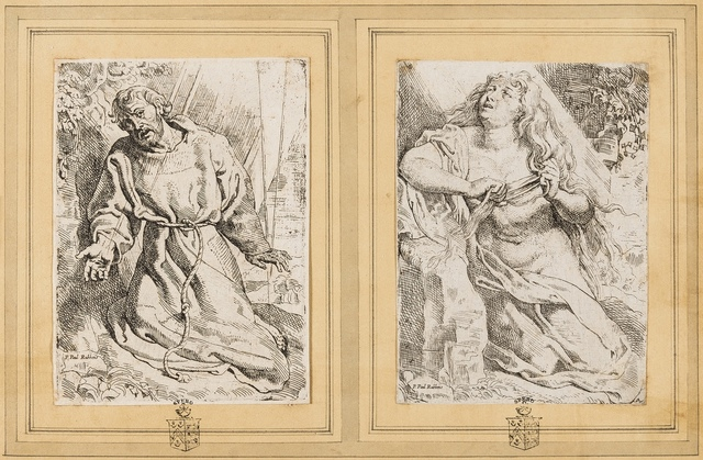 Willem Buytewech, 'St. Francis Receiving the Stigmata; Mary Magdalene Penitent', circa 1615-1625, Print, Two works after Rubens, etchings, Forum Auctions