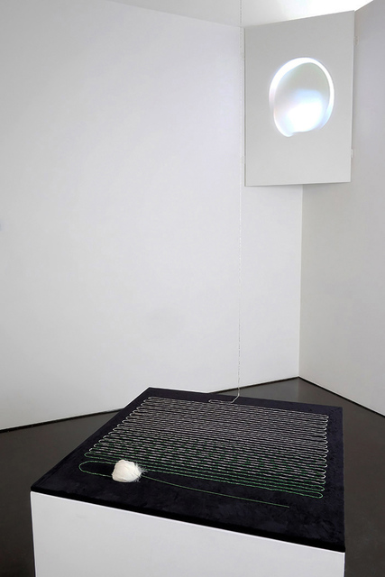 Sara Ludy, 'Rose', 2015, Installation, Found feather flower, silver beads, HD animation, USB, video player, bitforms gallery