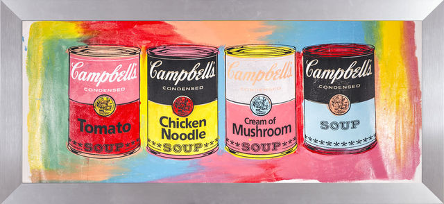 Steve Kaufman, 'Steve Kaufman Campbells Soup Quad Warhol Famous Assistant Pop Art Oil Painting', 1995, Modern Artifact