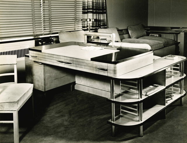 Kem Weber, 'Modular Desk for the Master's Sitting Room of the W.E. Bixby, Sr., Residence, Kansas City, Missouri', circa 1936-1937, Design/Decorative Art, Lacquered sycamore, painted wood interior, gilt decoration, brass, opaline, glass,vellum, together with a matching smaller shelving unit, Sotheby's: Important Design