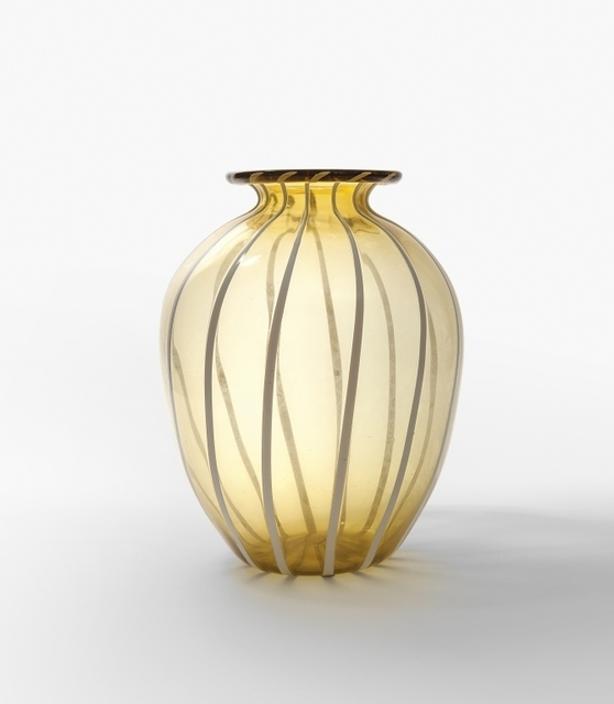 Napoleone Martinuzzi, 'An amber transparent blown glass vase with vertical lattimo glass rods', Aste Boetto