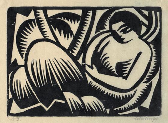 Georg Gerhard Schrimpf, 'Ruhende Frau I (Reclyning figure)', 1917, Print, Woodcut on paper, Galerie Brockstedt