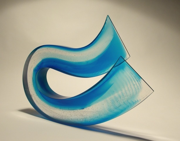 Galia Amsel, 'Surge 3', 2018, Sculpture, Cast gaffer copper blue and clear glass hand smoothed and polished, Trish Clark Gallery