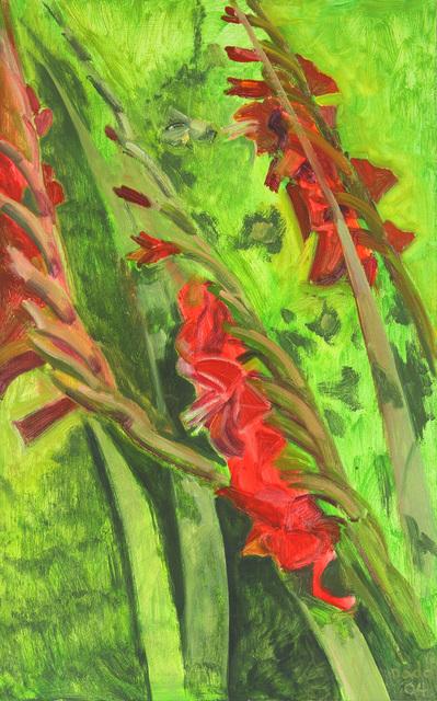 Lois Dodd, 'Red Gladioli', 2004, Painting, Oil on masonite, Alexandre Gallery