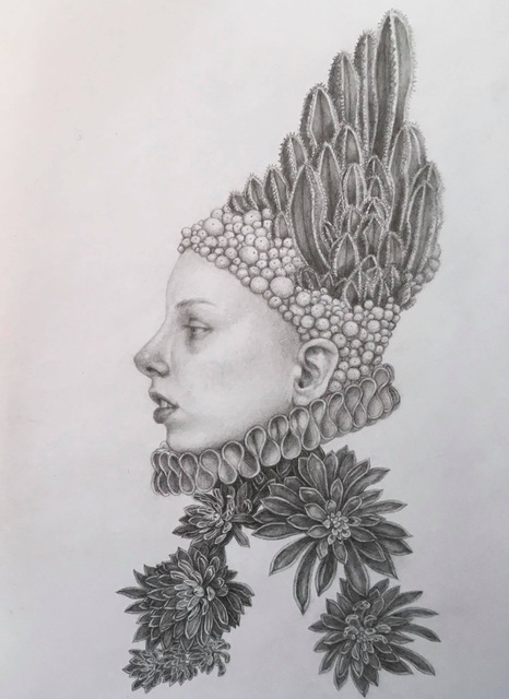 Chikako Okada, 'Infanta Dolor / graphite pencil drawing, woman with cactus and succulents', 2019, Andra Norris Gallery
