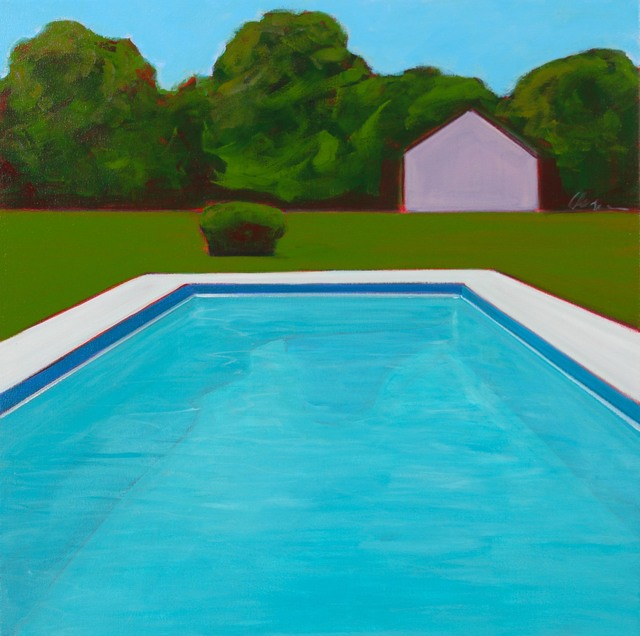 , 'Hamptons Pool With Pink Barn,' 2017, Caldwell Snyder Gallery