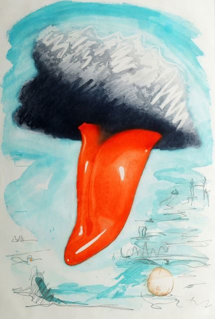 Claes Oldenburg, 'Tongue Cloud over London, with Thames Ball [A. & P. 158]', 1976, Print, Etching with aquatint printed in colours on hodgkinson handmade paper, Roseberys
