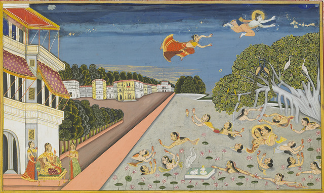 , 'Jalandharnath flies over King Padam's palace, from the Suraj Prakash,' 1830, Asian Art Museum