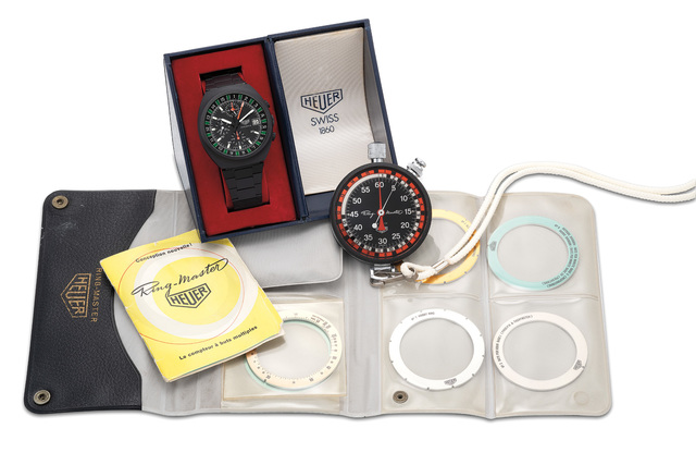 """Heuer, 'An extremely rare and highly attractive PVD-coated stainless steel """"Boxing"""" chronograph wristwatch with date and bracelet and one of only two known, accompanied by a Ring-Master stopwatch', Circa 1986, Phillips"""
