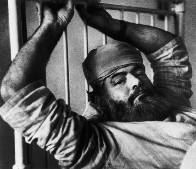 , 'Ernest Hemingway in a hospital bed. London, Great Britain. ,' 1944, Magnum Photos