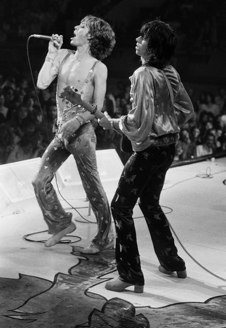 , 'Mick Jagger and Keith Richards of the Rolling Stones Wembley Empire Pool ,' 1973, ElliottHalls