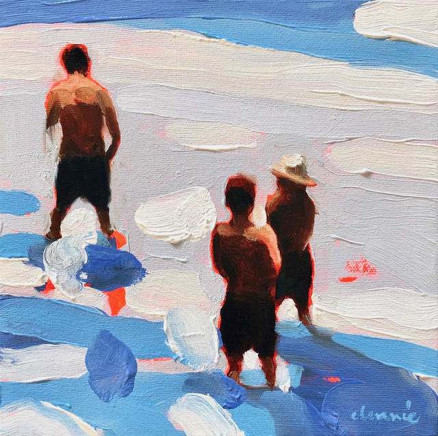 "Elizabeth Lennie, '""Mythography 150"" abstract oil painting of people wading in blue amd white water', 2019, Eisenhauer Gallery"