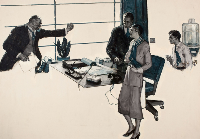 Saul Tepper, 'Couple in Modern Office', The Illustrated Gallery