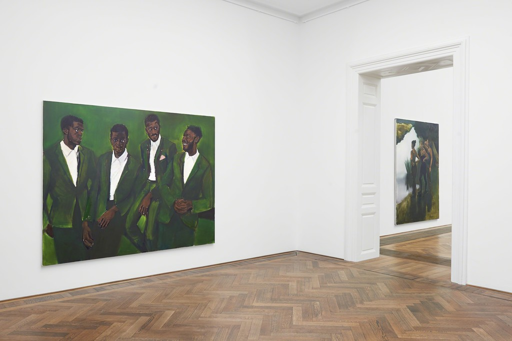 "Lynette Yiadom-Boakye, Installation view ""A Passion To A Principle,"" Kunsthalle Basel, 2016, view on (f.l.t.r.) ""A Culmination,"" 2016, and ""Magenta In The Ravages,"" 2016. Photo: Philipp Hänger"